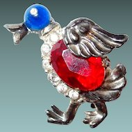 Duck Figural Pin with Cabochon and Rhinestones