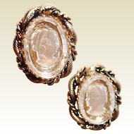 Clear Glass Intaglio Cameo Earrings