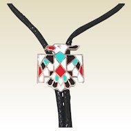 Shop our Year End SALE Vintage Enamel Zuni Thunder Bird Bolo Tie Necklace
