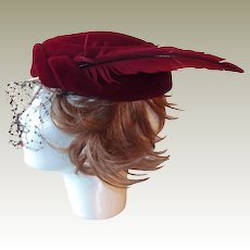 Imported Italian Velour Fascinator Hat Side Feather