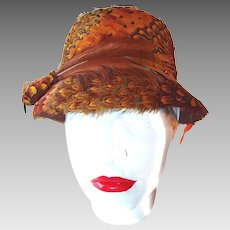 Peacock Feather Cloche Hat Bird and Tail Wrapped Rare