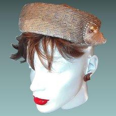 Vintage Designer Hat Side Tassel Faux Pearls