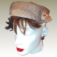 Vintage Designer Hat FINAL REDUCTION SALE Side Tassel Faux Pearls