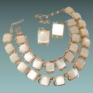 Coro Thermoset Parure Set of 3 Necklace Bracelet Earrings Pale Beige