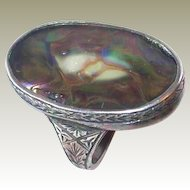 Elaborate Etched Victorian Abalone Sterling Ring in REDUCTION SALE