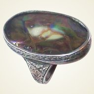 Elaborate Etched Victorian Abalone Sterling Ring