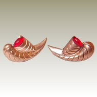 Copper Earrings FINAL REDUCTION SALE Horn Motif Cornucopia Red Cabochons