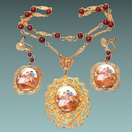 Hand Painted Porcelain Cameo Necklace and Earring Set