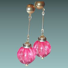 Pink Plastic Bob Earrings from 1960s