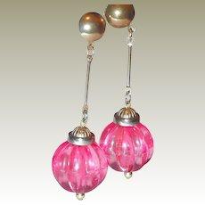 Pink Plastic Bob Earrings from 1960s