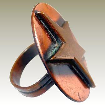 Copper Ring Brass Star Adjustable