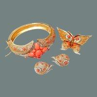 BIG SALE Trifari Butterfly Coral Rhinestone Bracelet Pin Earring Set