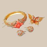 Trifari Butterfly Coral Rhinestone Bracelet Pin Earring Set