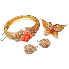 Trifari Butterfly Coral Rhinestone Bracelet Pin Earring Set FINAL REDUCTION SALE
