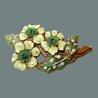 Early Plastic Painted Flower Brooch with Rhinestones 50% off Shop at Home Sale