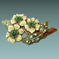 Early Plastic Painted Flower Brooch with Rhinestones