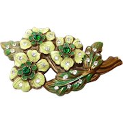 Prices Reduced Year End SALE Early Plastic Painted Flower Brooch with Rhinestones