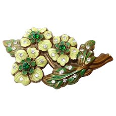 Early Plastic Painted Flower Brooch with Rhinestones FINAL REDUCTION SALE