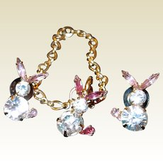 Bauer Rhinestone Bunny Rabbit Bracelet Post Earring Set