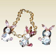 Bauer Rhinestone Easter Bunny Rabbit Bracelet Post Earring Set