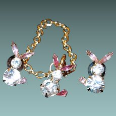 LEAVING SHOP the END of MAY Bauer Rhinestone Bunny Rabbit Bracelet Post Earring Set