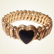 Black Glass Heart Bracelet 1910 Carmen Flexible Made in USA