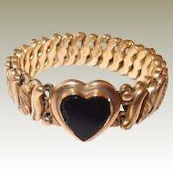 Black Glass Heart Bracelet 1910 FINAL REDUCTION SALE Carmen Flexible Made in USA