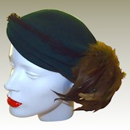 Forest Green Beret Hat with Olive Feathers