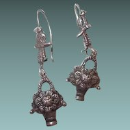 Sterling Art Deco Bird Flower Basket Kidney Wire Pierced Drop Earrings