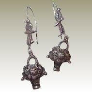 Sterling Art Deco Bird Flower Basket Kidney Wire Pierced Drop Earrings