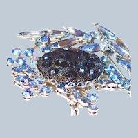 Scarce Dimensional Blue Moon Rock Judy Lee Brooch Earring Set Last Chance SALE