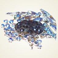 Scarce Dimensional Blue Moon Rock Judy Lee Brooch Earring Set