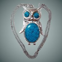 Articulated Owl Faux Turquoise Pendant Necklace