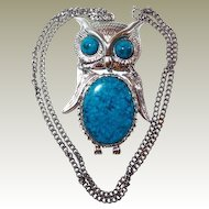 Articulated Owl Faux Turquoise Pendant Necklace FINAL REDUCTION SALE