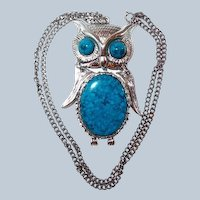 Last Chance SALE Articulated Owl Faux Turquoise Pendant Necklace