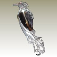 Rare Lucite Jelly Belly Bird Brooch by H. Pomerantz FINAL REDUCTION SALE