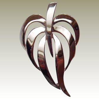 Classic Napier Silvertone Leaf Brooch
