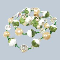 Vendome Green and White Glass Necklace Earring Set Last Chance SALE