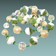 Vendome Imported Green and White Glass Necklace Earring Set
