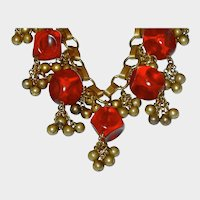 Early Miriam Haskell WWII Contoured Translucent Red Plastic and Brass Bead Dripping Necklace
