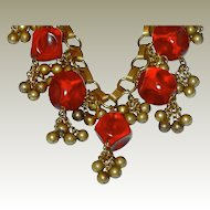 WWII Contoured Translucent Red Plastic and Brass Bead Dangle Necklace FINAL REDUCTION OFFER