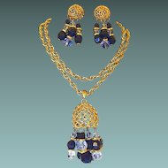 Honeycomb Pendant with Lucite and Black Facet Dangle Bead Necklace Earring Set