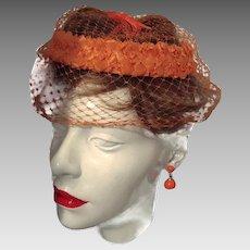 Union Hat FINAL REDUCTION SALE Orange Straw Rim Netting Bow