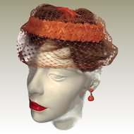 Union Hat Orange Straw Rim Netting and Bow