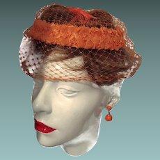 Union Hat Orange Straw Rim Netting and Bow