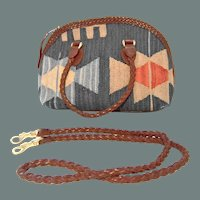 50% off Shop at Home Sale Handcrafted Navajo Print Wool and Leather Carpet Handbag