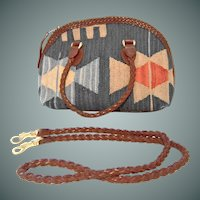 Handcrafted Navajo Print Wool and Leather Carpet Bag Purse