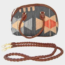 Handcrafted Navajo Woven Wool and Leather Handbag