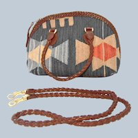 Last Chance SALE Handcrafted Navajo Woven Wool and Leather Handbag