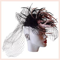 Hand Made Elegant Feather Hat by Marzi Firenze, Italy